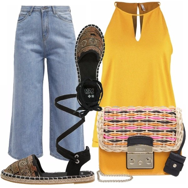 Outfit Jeans bootcut e top giallo!