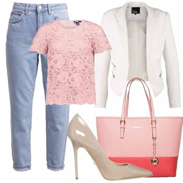 Outfit Pink Roll-up Jeans