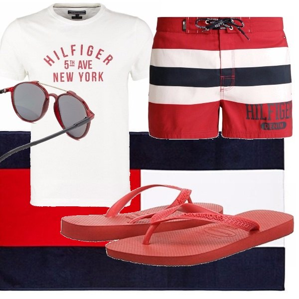 Outfit Bianco rosso blu mare