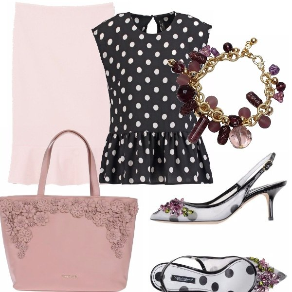 Outfit Pois con la delicatezza del rosa