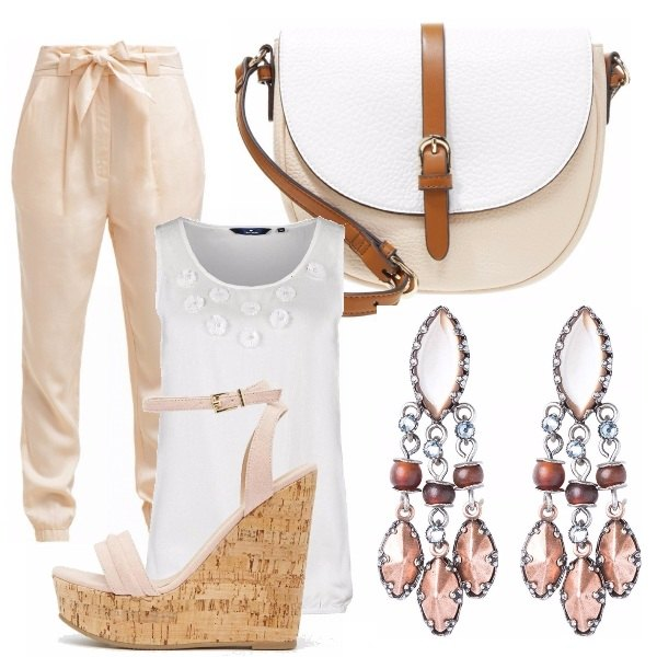 Outfit Casual crema