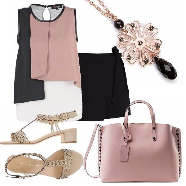 Outfit Top a blocchi di colore
