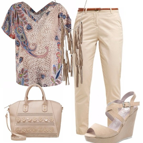 Outfit Un casual in beige