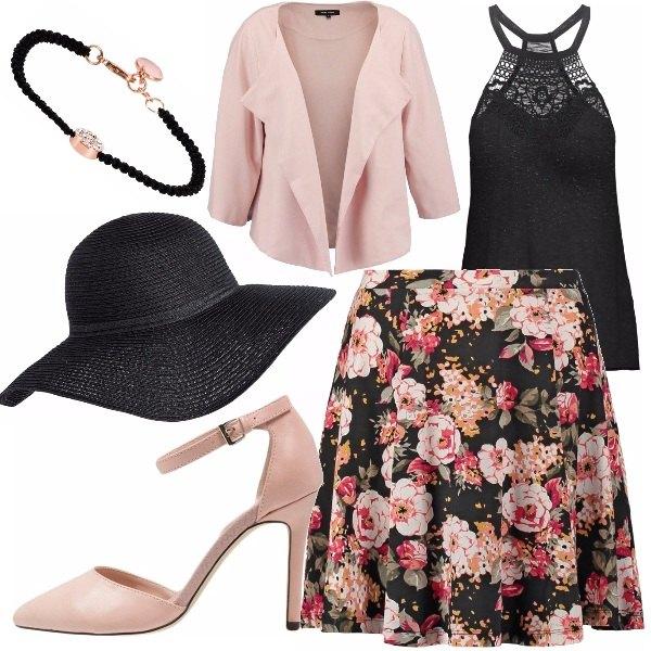 Outfit Cerimonia in rosa antico