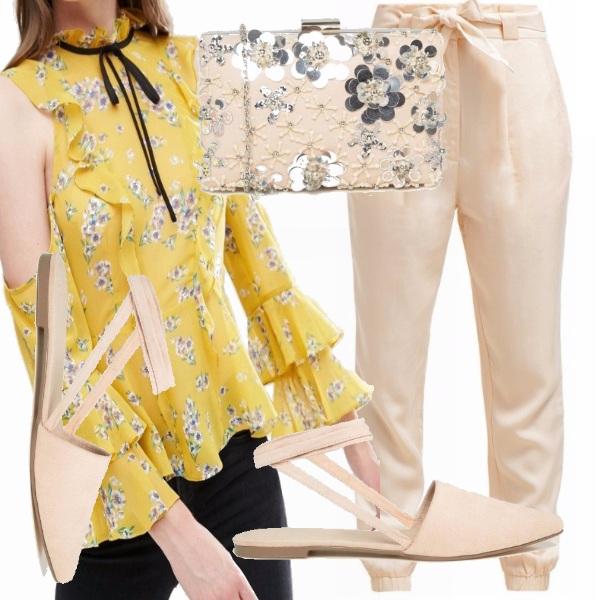 Outfit Blusa gialla e fiori!