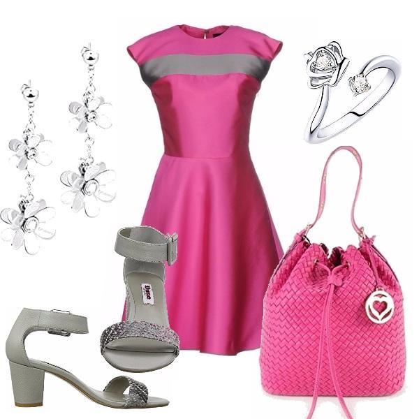 Outfit Fucsia e grigio