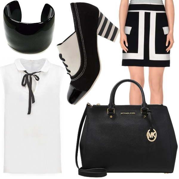 Outfit Optical bianco e nero