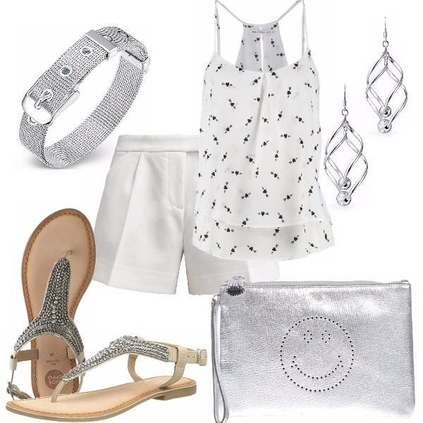 Outfit Bianco e tocchi silver