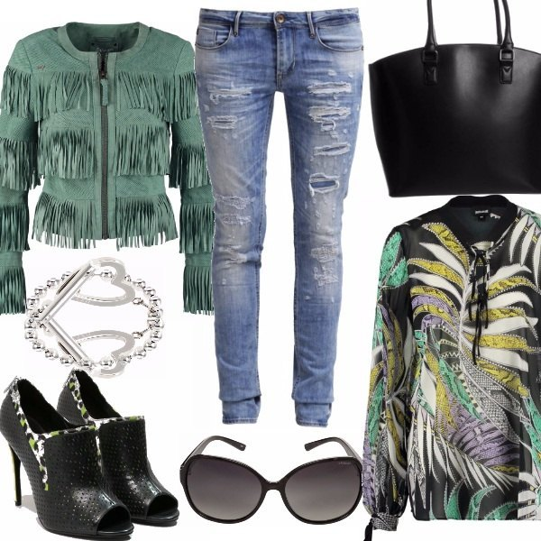 Outfit Skinny Jeans, fringes