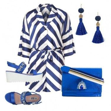 Outfit Bianco e blu chic