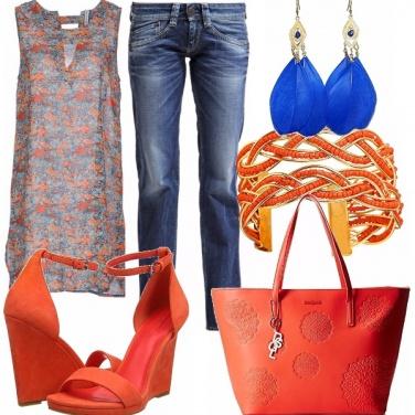 Outfit Arancio & blu