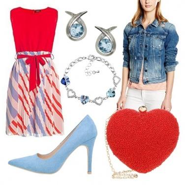 Outfit Rosso e celeste