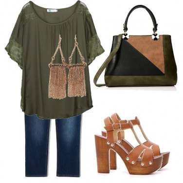 Outfit Verde militare e pinocchietto