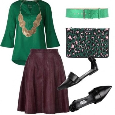 Outfit Gonna in pelle e mood etnico