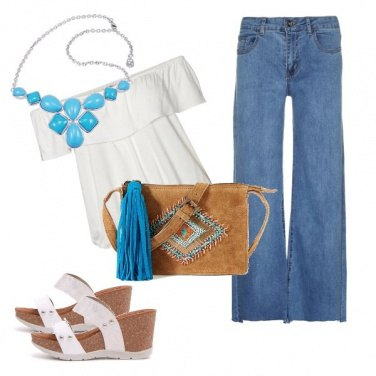 Outfit Turchese e jeans