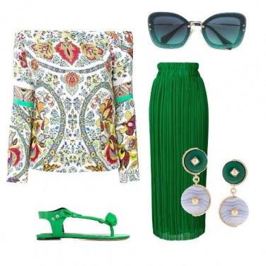 Outfit Verde plissè