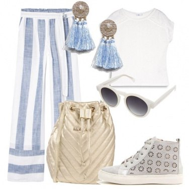 Outfit Pantaloni a righe larghe