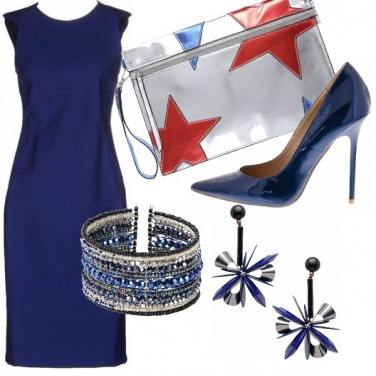 Outfit Tubino blu e stelle
