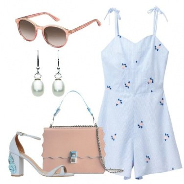 Outfit Playsuit righe e fiori