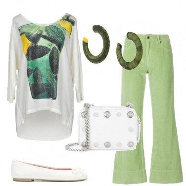 Outfit Pantaloni a zampa verdi