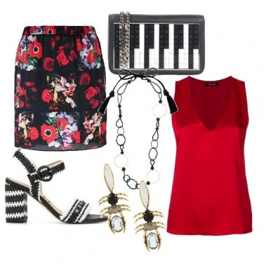Outfit Chic con la gonna a fiori