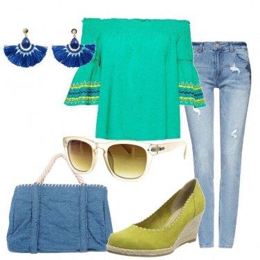 Outfit Verde e denim