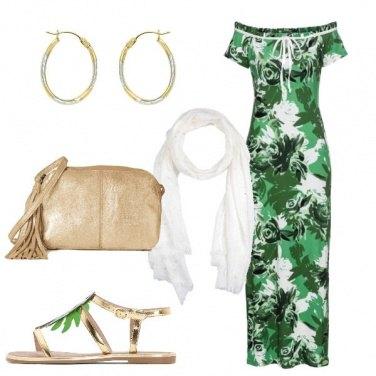 Outfit Serata in verde e oro