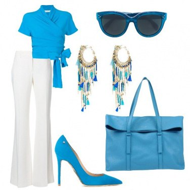 Outfit Bon ton bianco e turchese