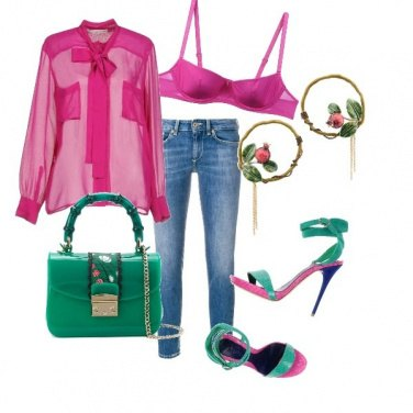 Outfit Green & fucsia