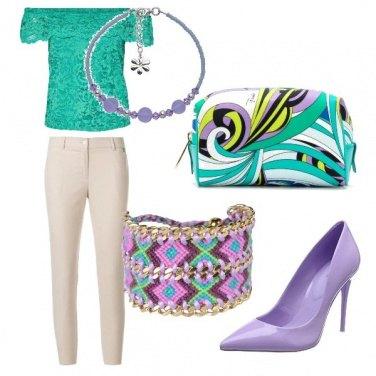 Outfit Verde e viola