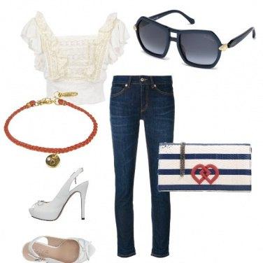 Outfit Blu e bianco con le amiche