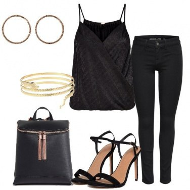 Outfit Serata trendy in total black
