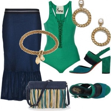Outfit Tra verde e blu oltremare