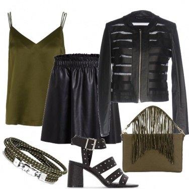 Outfit Rock in nero e verde oliva