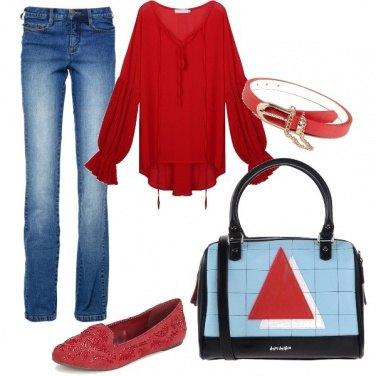 Outfit Denim e rosso