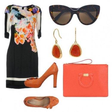 Outfit Nero e arancio bon ton