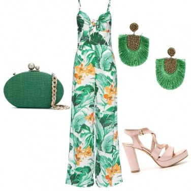 Outfit Green floreale