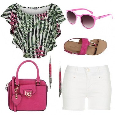 Outfit Top crop tropicale