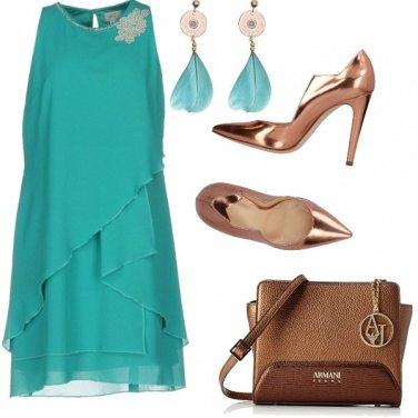 Outfit Bronzo e turchese