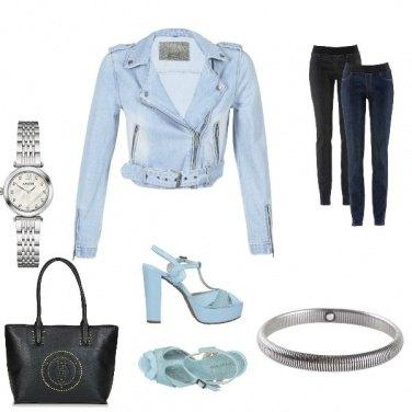 Outfit Rock bleu