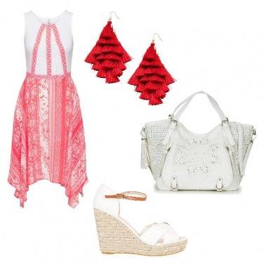 Outfit Bianco e rosso estivi