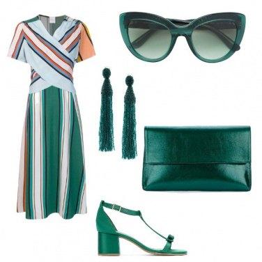 Outfit Righe e smeraldo