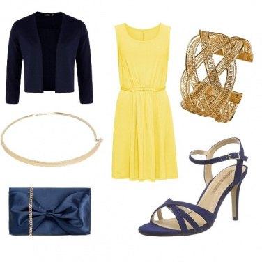 Outfit Matrimonio blu e oro
