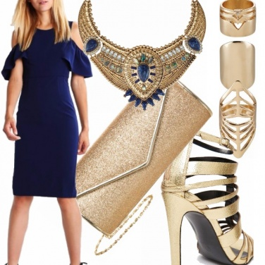 Outfit Blu e golden