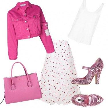 Outfit Bianco&fucsia