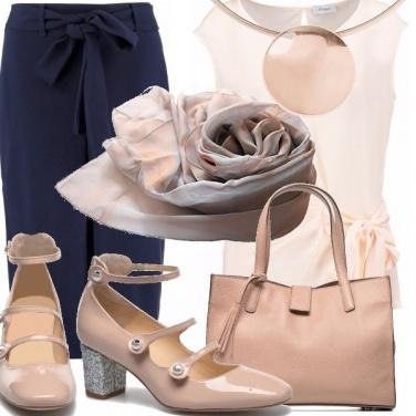 Outfit Rosa cipria e blu