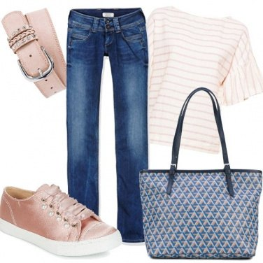 Outfit Denim e rosa cipria, casual