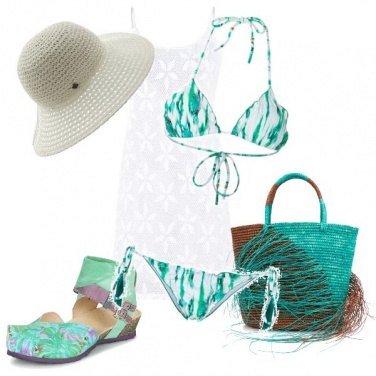 Outfit Al mare in verde