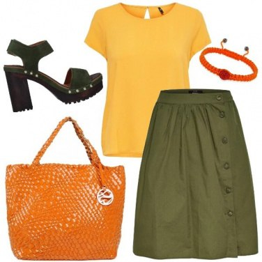 Outfit Orange yellow and green