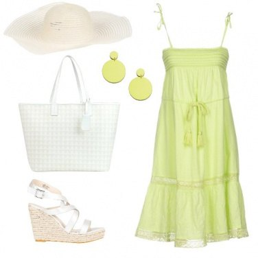 Outfit Lime & White